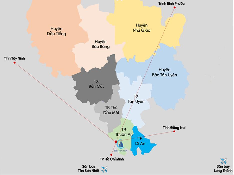 Dự án The Rivana nằm tại trung tâm thành phố Thuận An, tỉnh Bình Dương